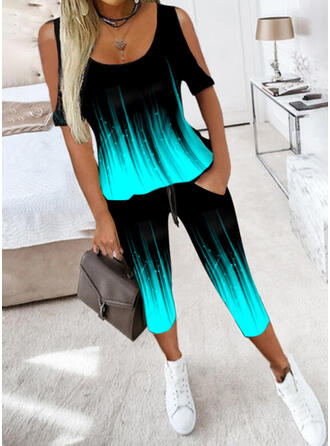 Print Casual Plus Size Pocket Drawstring Pants Two-Piece Outfits