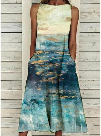 Print Sleeveless Shift Vintage/Casual Midi Dresses