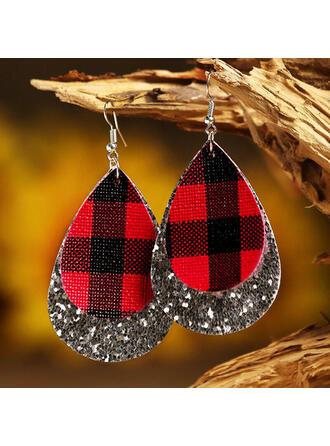Layered Drop Shape Christmas PU Women's Earrings 2 PCS
