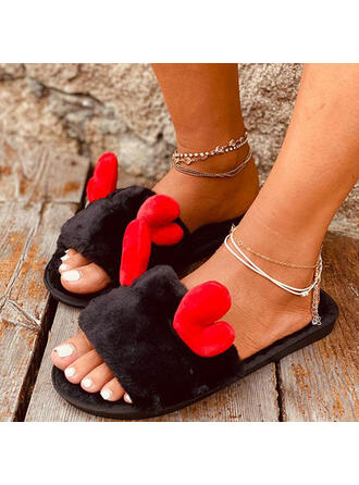 Women's Suede Flat Heel Peep Toe Slippers With Applique Faux-Fur Splice Color shoes