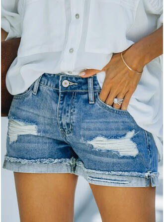 Shirred Plus Size Ripped Elegant Plain Shorts Denim & Jeans