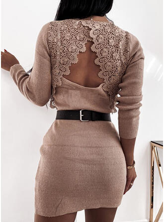 Solid Lace V-Neck Long Sexy Sweater Dress