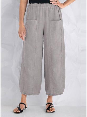 Bolsillos Fruncido Talla extra Largo Casual Llanura Pantalones