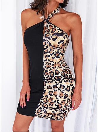 Leopard Sleeveless Sheath Above Knee Casual Dresses