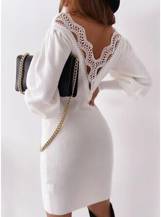 Encaje/Sólido Manga Larga Ajustado Sobre la Rodilla Casual/Elegante Vestidos
