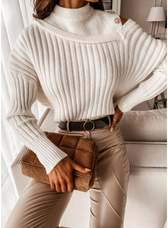 Solid Ribbed One Shoulder Casual Sweaters