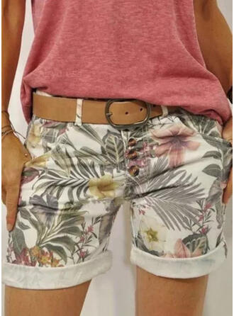Floral Print Leaves Above Knee Vacation Plus Size Pocket Button Pants Shorts