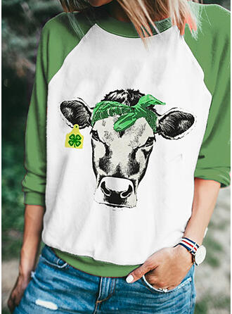 Color Block Animal Print Round Neck Long Sleeves Casual T-shirts