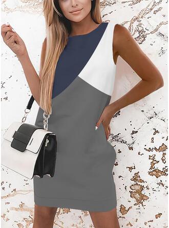 Color Block Sleeveless Bodycon Above Knee Elegant Dresses