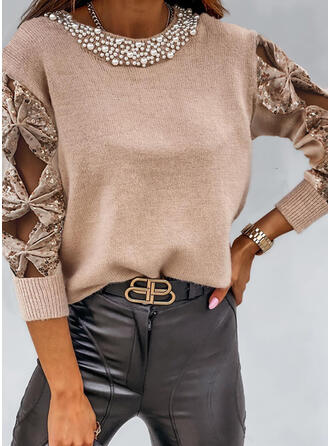 Solid Sequins Beaded Round Neck Casual Sweaters
