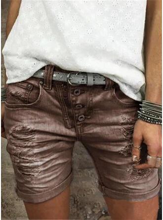Bolsillos Fruncido Talla extra Por encima de la rodilla Casual Juan Pantalones cortos