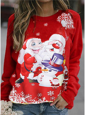 Women's Cotton Blends Print Santa Christmas Sweatshirt