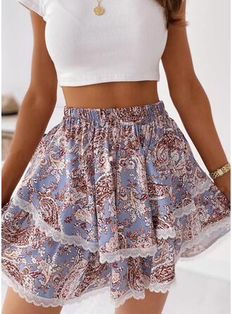 Polyester Print Mini A-Line Skirts