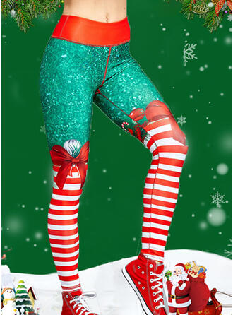 Striped Print Christmas Sporty Yoga Leggings