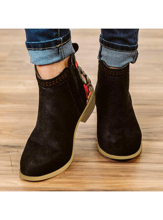 Women's PU Chunky Heel Ankle Boots Round Toe With Solid Color Breathable shoes