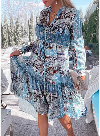 Print Long Sleeves A-line Skater Casual/Vacation Midi Dresses