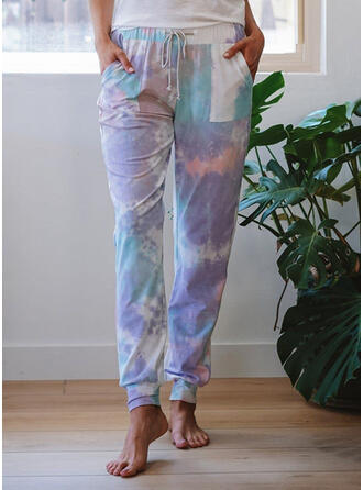 Tie Dye Cordón Largo Casual Deportivo Pantalones