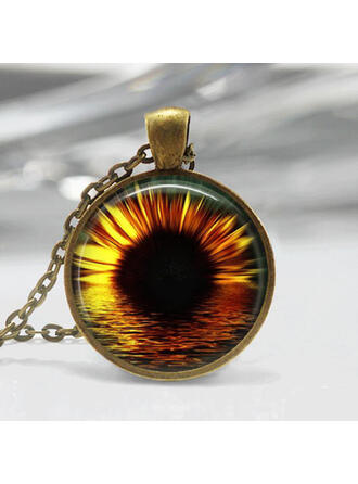 Pretty Sunflower Alloy Resin Glass Women's Necklaces