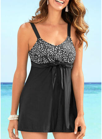 Print Strap V-Neck Sexy Plus Size Casual Swimdresses Swimsuits