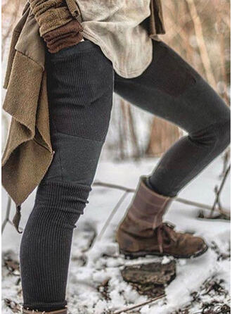 Patchwork Shirred Plus Size Sexy Vintage Leggings