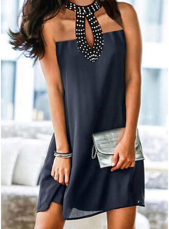 Solid/Beaded Sleeveless Shift Above Knee Casual Dresses