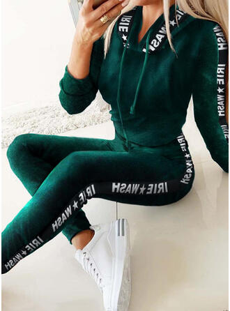 Print Drawstring Casual Sporty Stretchy Suits