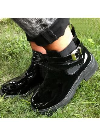 De mujer PU Tacón ancho Botas al tobillo Encaje con Hebilla Color sólido zapatos