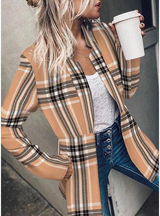 Knit Long Sleeves Plaid Blazers