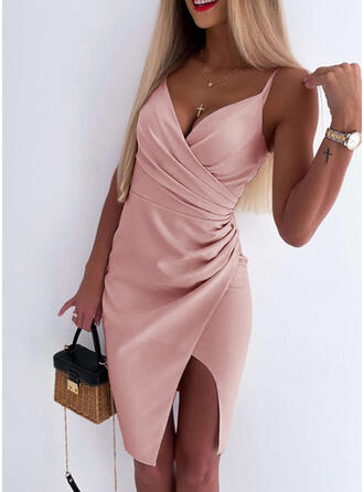 Solid/Backless Sleeveless Sheath Above Knee Sexy Slip Dresses