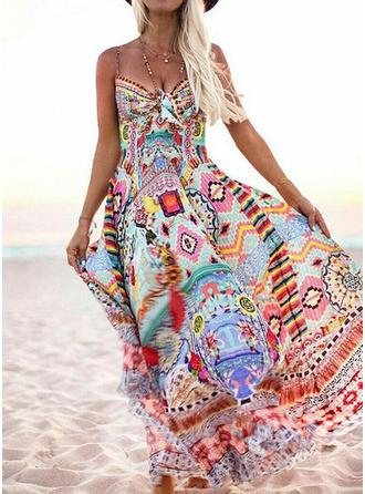 Print/Floral Sleeveless A-line Slip Casual/Boho/Vacation Maxi Dresses