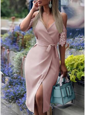 Lace/Solid 1/2 Sleeves Sheath Wrap Elegant Midi Dresses