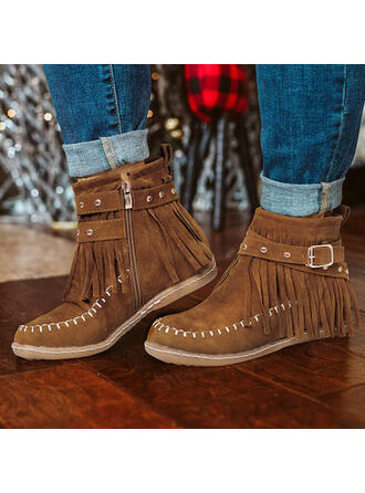 Women's PU Flat Heel Ankle Boots Round Toe Winter Boots With Zipper Tassel shoes