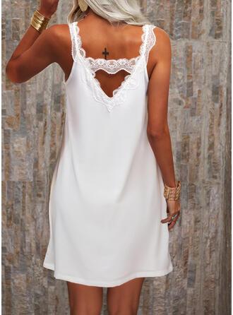 Solid Sleeveless Shift Knee Length Casual/Elegant Dresses