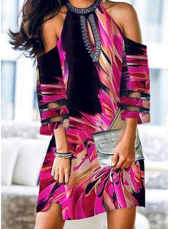 Impresión Mangas 3/4/Top sin hombros Tendencia Sobre la Rodilla Casual Vestidos