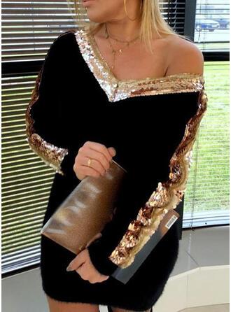 Lentejuelas Cuello en V Casuales Largo Vestido de Suéter