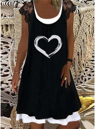 Lace/Print/Heart Cap Sleeve Shift Knee Length Casual/Vacation Dresses