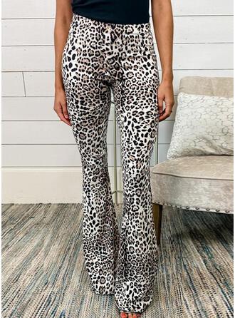 Fruncido Leopardo Largo Casual Sexy Pantalones