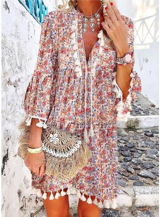 Impresión/Floral Mangas 3/4/Mangas Acampanadas Tendencia Sobre la Rodilla Casual Vestidos