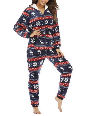 Polyester Long Sleeves Christmas Romper
