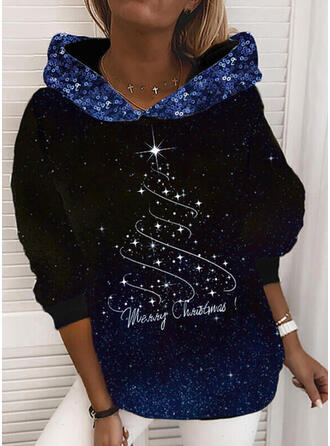Print Sequins Figure Long Sleeves Christmas Sweatshirt