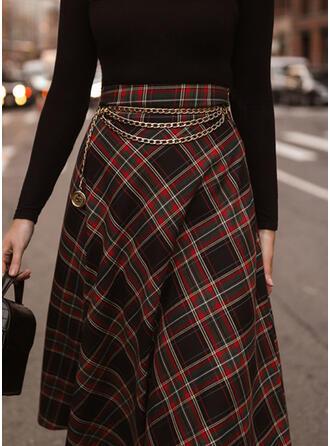Cotton Blends Plaid Mid-Calf A-Line Skirts