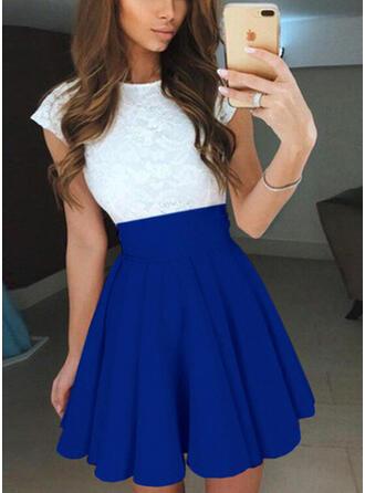 Lace/Color Block Short Sleeves A-line Above Knee Vintage/Casual/Elegant Skater Dresses