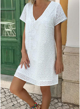 Lace/Solid Short Sleeves Shift Above Knee Little Black/Casual Dresses