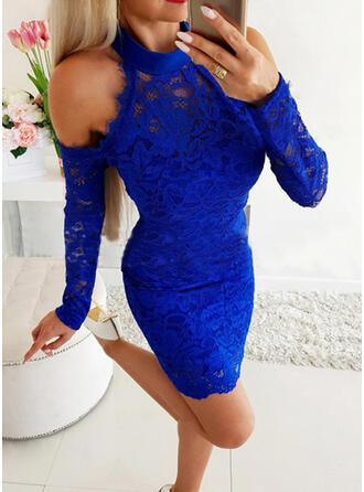 Lace/Solid Long Sleeves/Cold Shoulder Sleeve Bodycon Above Knee Sexy/Casual Dresses
