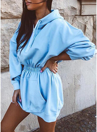 Solid Long Sleeves Sheath Above Knee Casual Sweatshirt Dresses