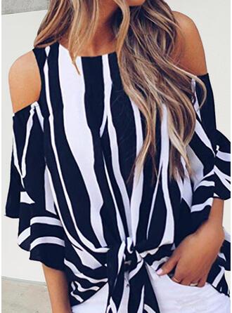Striped Cold Shoulder 3/4 Sleeves Cold Shoulder Sleeve Casual Blouses