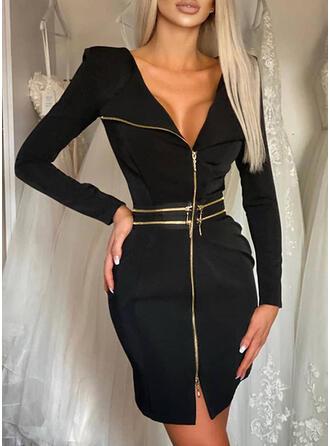 Solid Long Sleeves Bodycon Above Knee Little Black/Elegant Dresses
