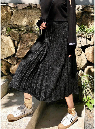 Woollen Plain Mid-Calf Pleated Skirts