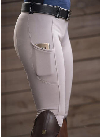 Solid Pockets Sexy Plain Pants Leggings