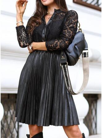 Lace/Solid Long Sleeves A-line Knee Length Little Black/Elegant Skater Dresses